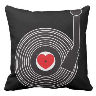 I Love (Heart) Vinyl Pillow